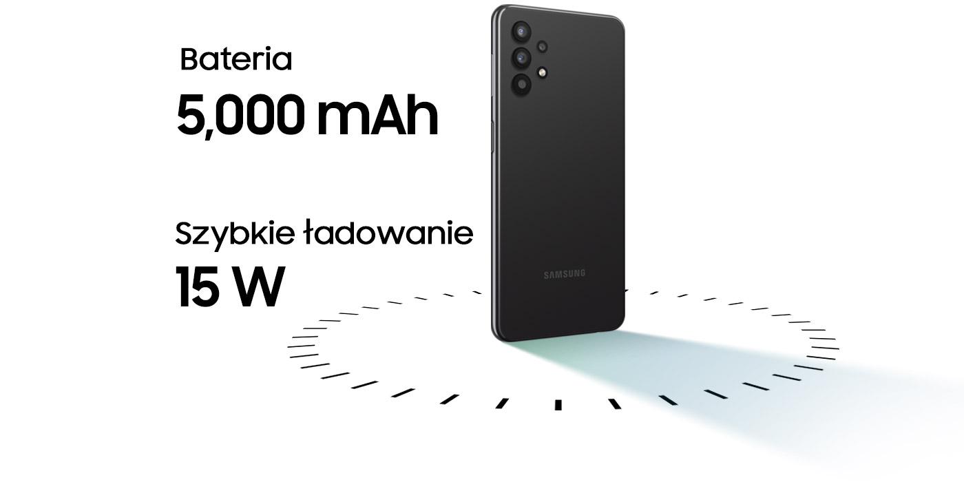Telefon na środku, obok opis pojemności baterii oraz funkcji szybkiego ładowania