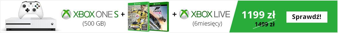 Microsoft Xbox One S w zestawie z FIFA 17, FH3, 6 msc. XBL
