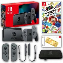 Konsola Nintendo Switch Grey 2019 + Super Mario Party + Etui + Szkło