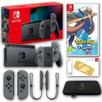 Konsola Nintendo Switch Grey 2019 + Pokemon Sword + Etui + Szkło
