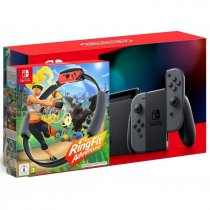 Konsola NINTENDO Switch Gray Joy-Con - NOWY MODEL HAC-001(-01) + Gra Nintendo Switch Ring Fit Adventure + Leg-Strap + Ring-Con