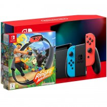 Konsola NINTENDO Switch Red & Blue Joy-Con - NOWY MODEL HAC-001(-01) + Gra Nintendo Switch Ring Fit Adventure + Leg-Strap + Ring-Con